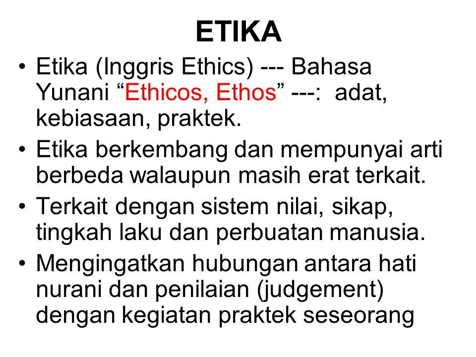 ETIKA Etika (Inggris Ethics) --- Bahasa Yunani Ethicos, Ethos ---: adat, kebiasaan, praktek.