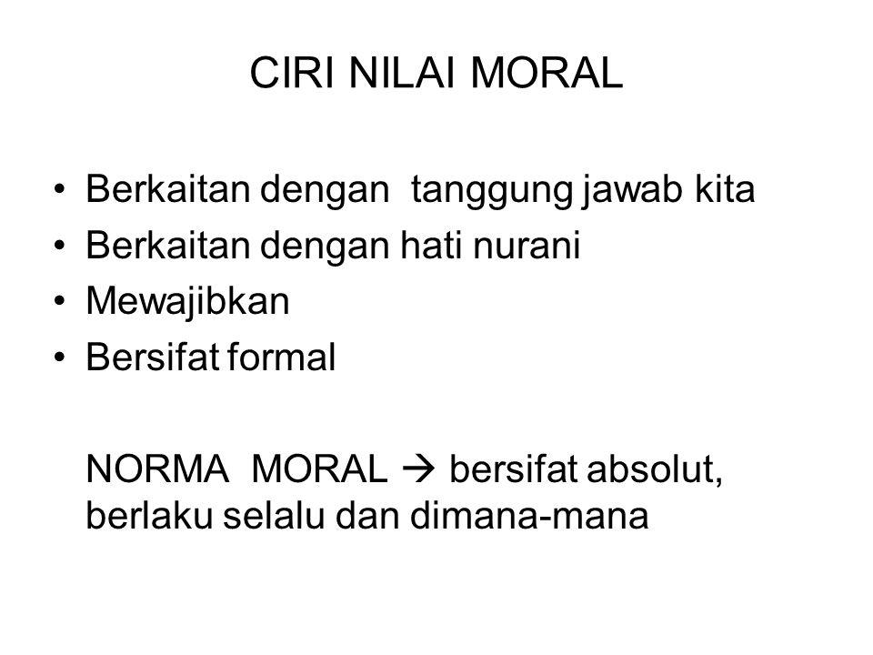 CIRI NILAI MORAL Berkaitan dengan tanggung jawab kita