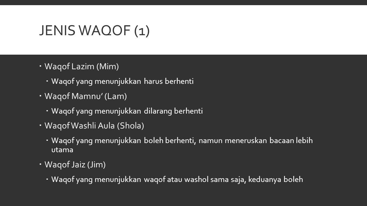 Jenis Waqof (1) Waqof Lazim (Mim) Waqof Mamnu' (Lam)
