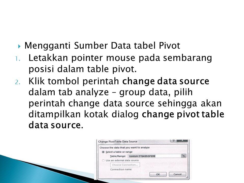 Mengganti Sumber Data tabel Pivot