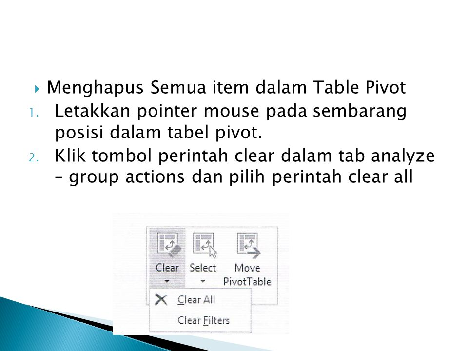 Menghapus Semua item dalam Table Pivot