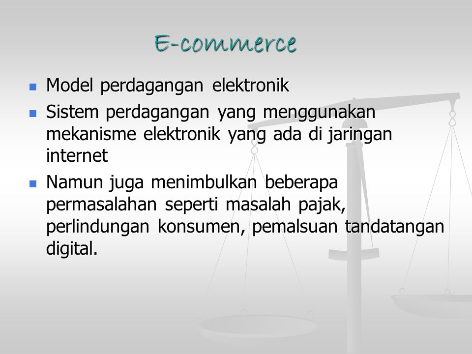 E-commerce Model perdagangan elektronik