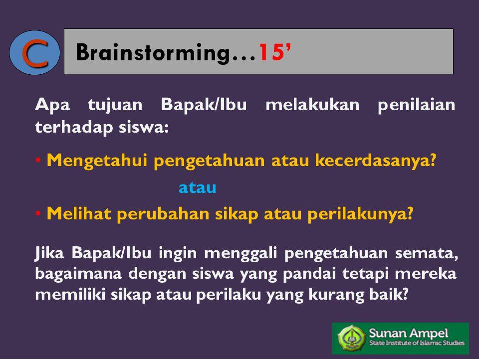 C Brainstorming…15' Apa tujuan Bapak/Ibu melakukan penilaian terhadap siswa: Mengetahui pengetahuan atau kecerdasanya
