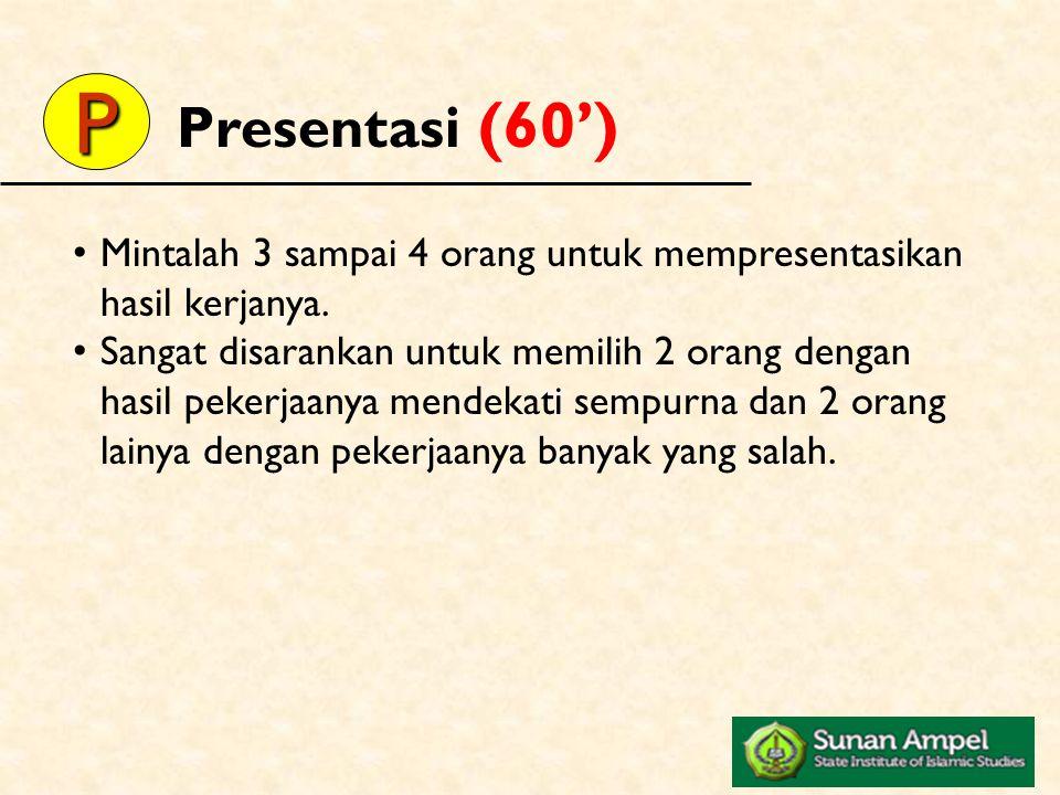Presentasi (60') P. Mintalah 3 sampai 4 orang untuk mempresentasikan hasil kerjanya.
