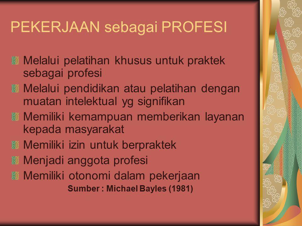 PEKERJAAN sebagai PROFESI