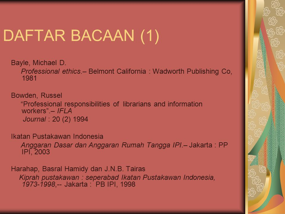 DAFTAR BACAAN (1) Bayle, Michael D.