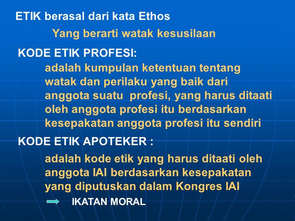 ETIK berasal dari kata Ethos