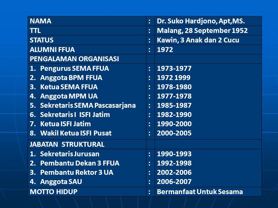 NAMA : Dr. Suko Hardjono, Apt,MS. TTL. Malang, 28 September 1952. STATUS. Kawin, 3 Anak dan 2 Cucu.