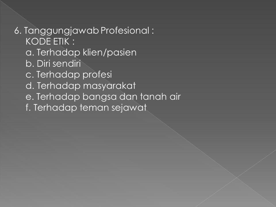 6. Tanggungjawab Profesional : KODE ETIK : a. Terhadap klien/pasien b