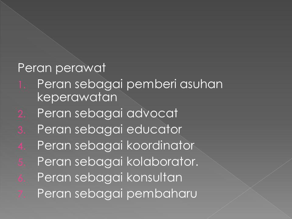 Peran perawat Peran sebagai pemberi asuhan keperawatan. Peran sebagai advocat. Peran sebagai educator.