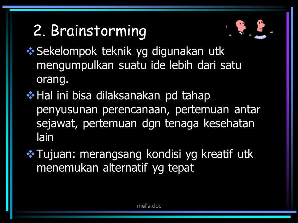 2. Brainstorming Sekelompok teknik yg digunakan utk mengumpulkan suatu ide lebih dari satu orang.