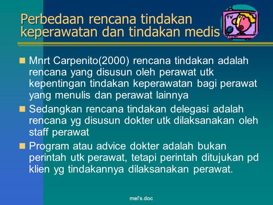 Perbedaan rencana tindakan keperawatan dan tindakan medis