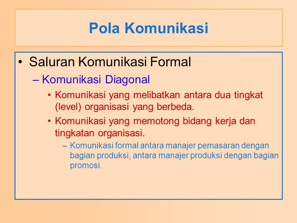 Pola Komunikasi Saluran Komunikasi Formal Komunikasi Diagonal