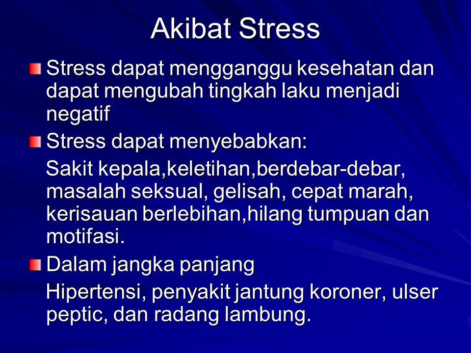 Akibat Stress Stress dapat mengganggu kesehatan dan dapat mengubah tingkah laku menjadi negatif. Stress dapat menyebabkan: