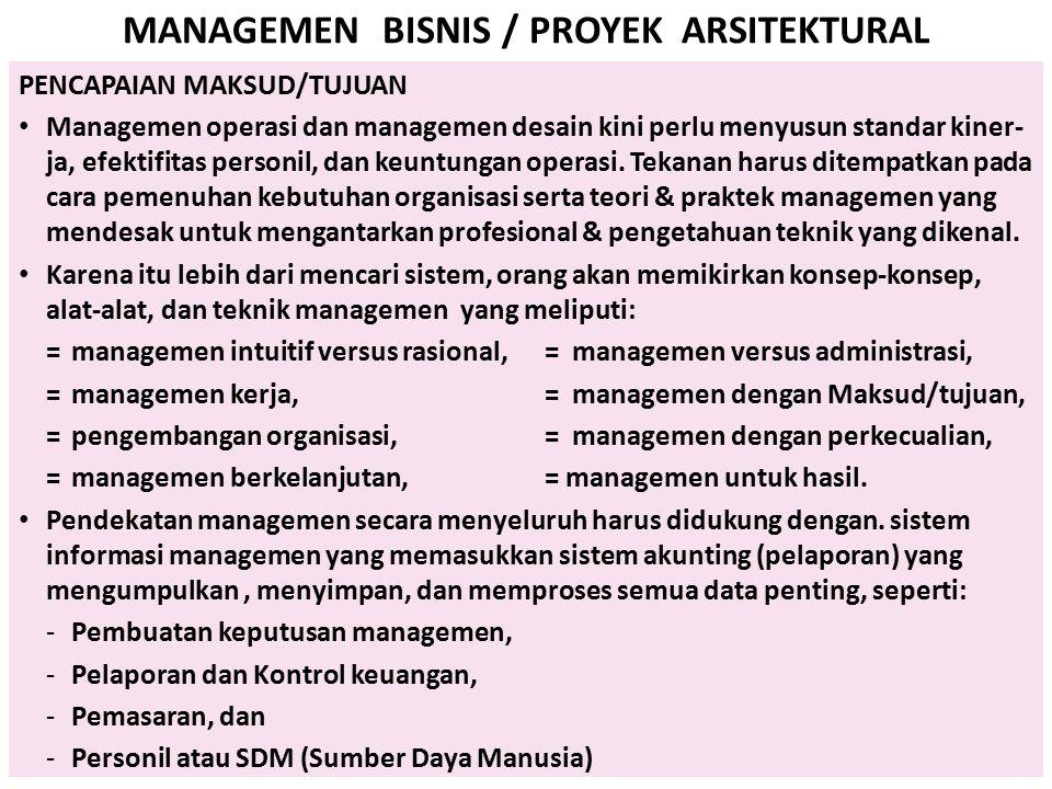 MANAGEMEN BISNIS / PROYEK ARSITEKTURAL