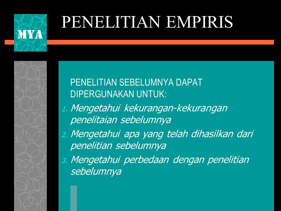 PENELITIAN EMPIRIS MYA PENELITIAN SEBELUMNYA DAPAT DIPERGUNAKAN UNTUK: