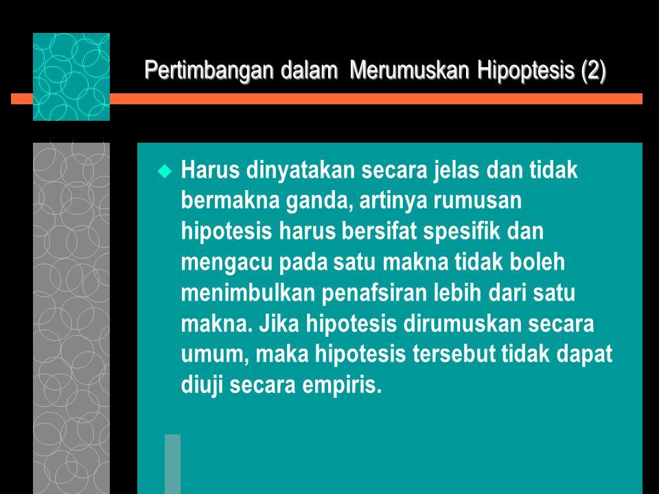 Pertimbangan dalam Merumuskan Hipoptesis (2)