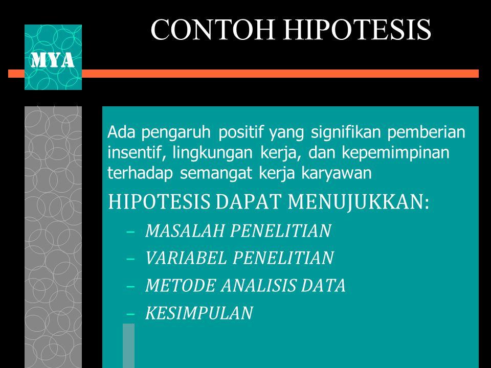 CONTOH HIPOTESIS MYA HIPOTESIS DAPAT MENUJUKKAN: MASALAH PENELITIAN