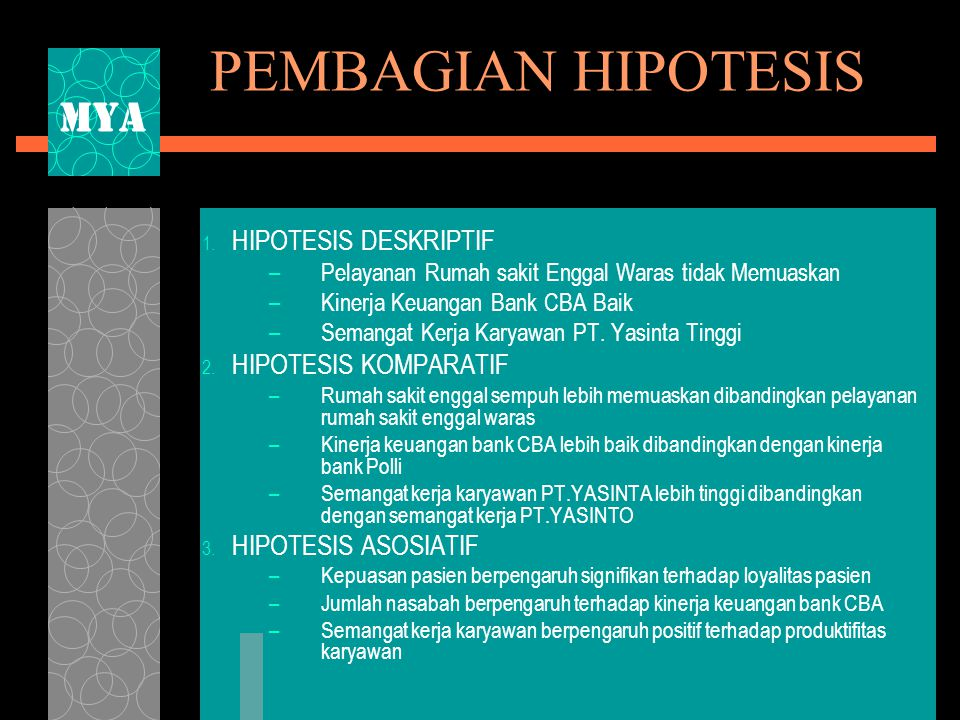 PEMBAGIAN HIPOTESIS MYA HIPOTESIS DESKRIPTIF HIPOTESIS KOMPARATIF