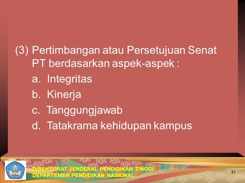 Pertimbangan atau Persetujuan Senat PT berdasarkan aspek-aspek :