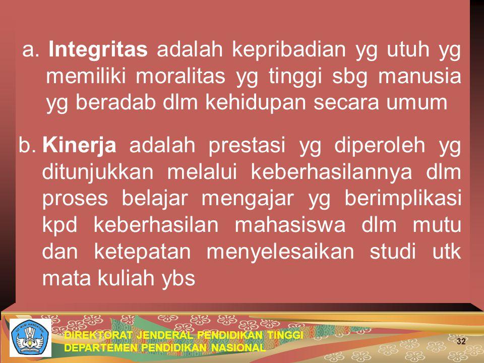 a. Integritas adalah kepribadian yg utuh yg memiliki moralitas yg tinggi sbg manusia yg beradab dlm kehidupan secara umum
