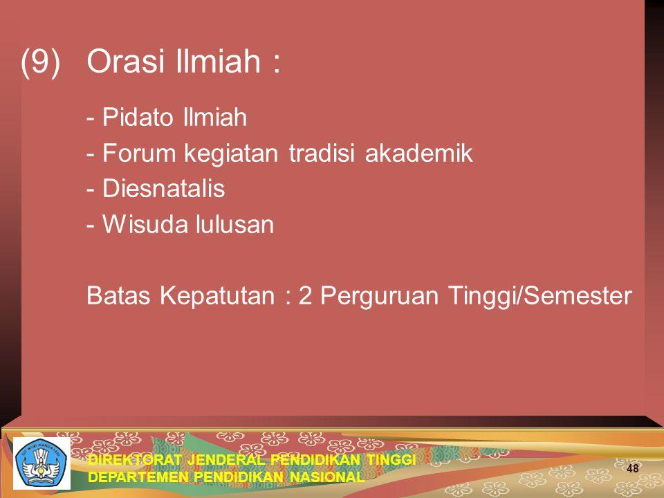 (9) Orasi Ilmiah : - Pidato Ilmiah - Forum kegiatan tradisi akademik
