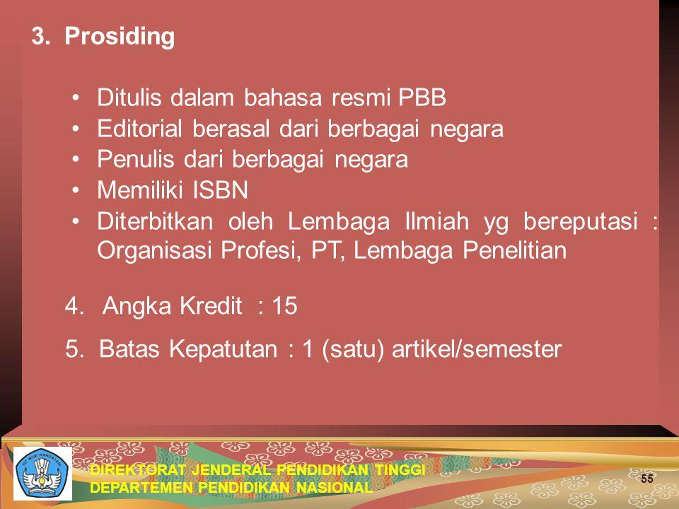 3. Prosiding Ditulis dalam bahasa resmi PBB. Editorial berasal dari berbagai negara. Penulis dari berbagai negara.