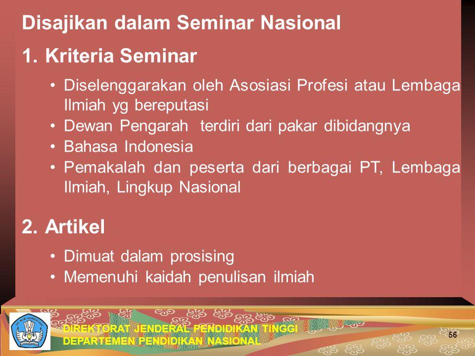 Disajikan dalam Seminar Nasional 1. Kriteria Seminar