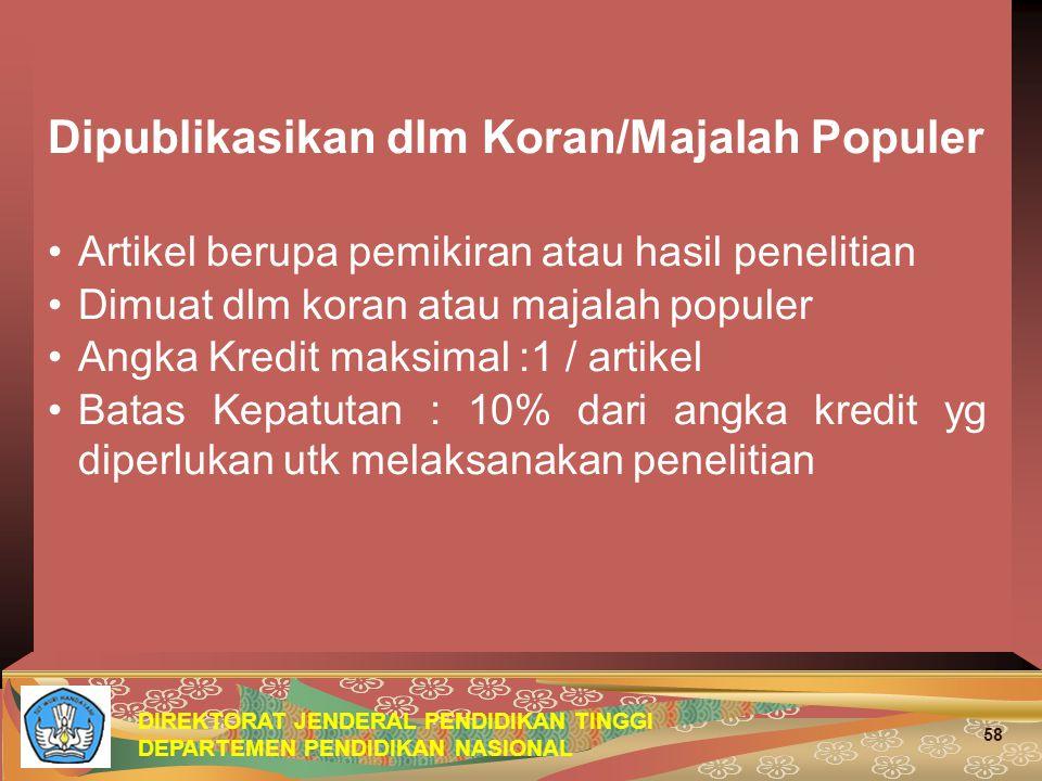 Dipublikasikan dlm Koran/Majalah Populer