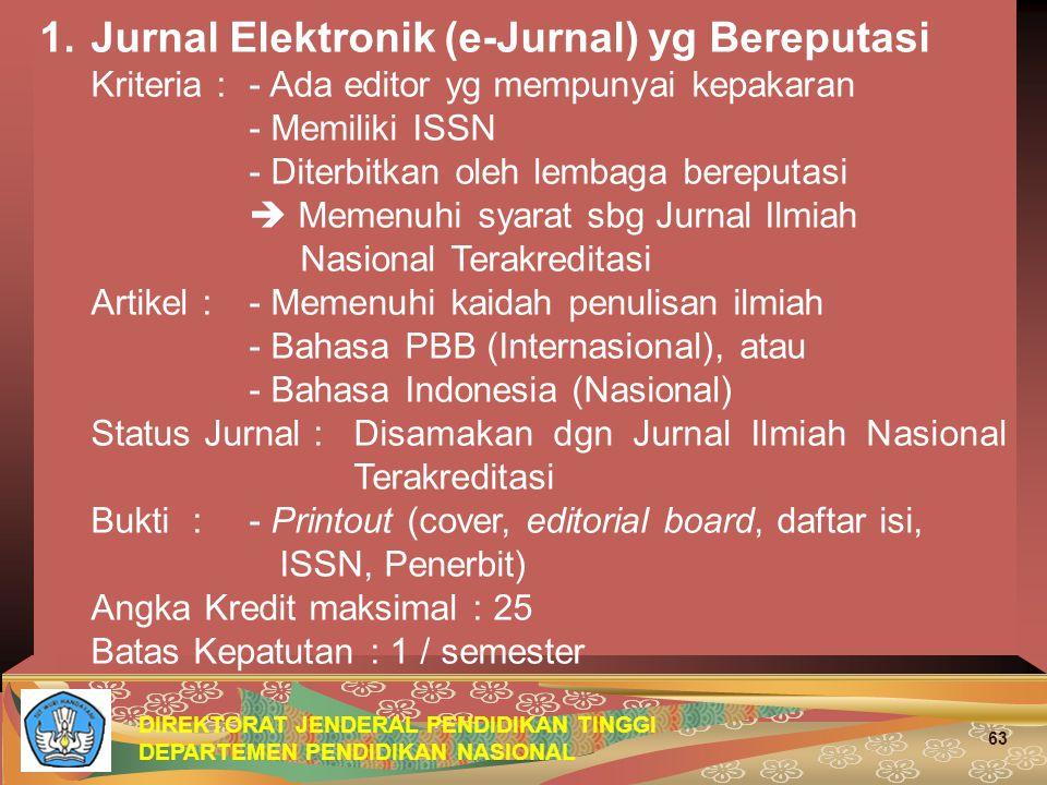 Jurnal Elektronik (e-Jurnal) yg Bereputasi