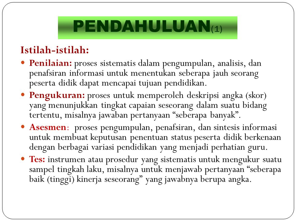 PENDAHULUAN(1) Istilah-istilah: