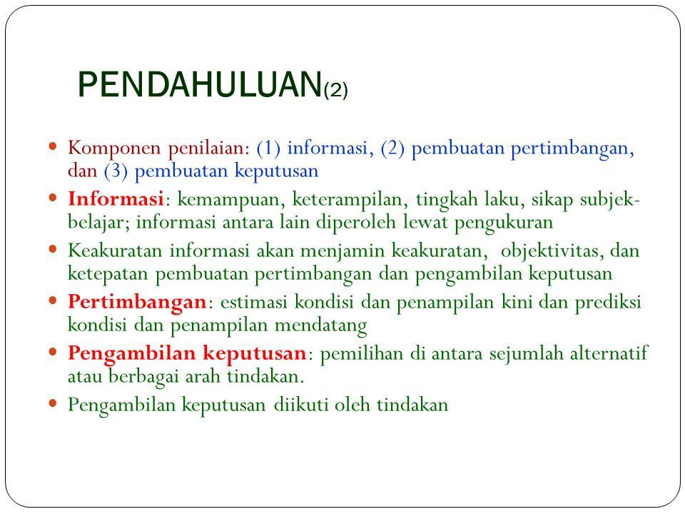 PENDAHULUAN(2) Komponen penilaian: (1) informasi, (2) pembuatan pertimbangan, dan (3) pembuatan keputusan.