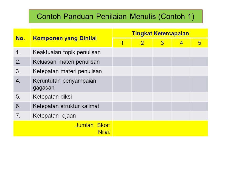 Contoh Panduan Penilaian Menulis (Contoh 1)