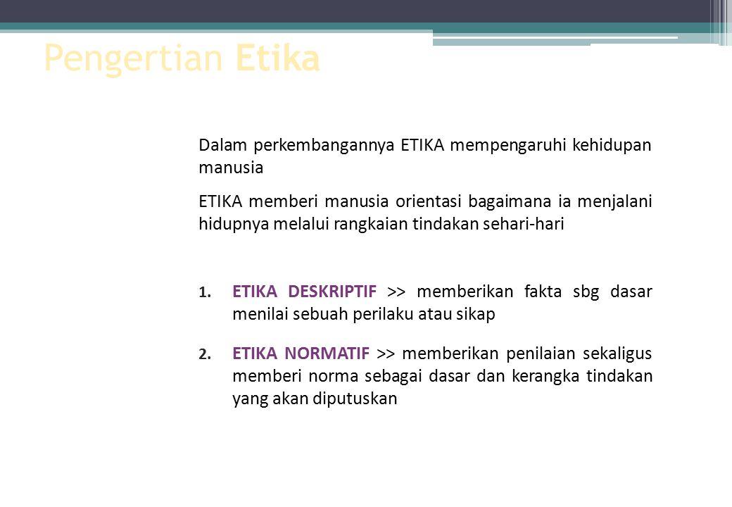 Pengertian Etika Dalam perkembangannya ETIKA mempengaruhi kehidupan manusia.