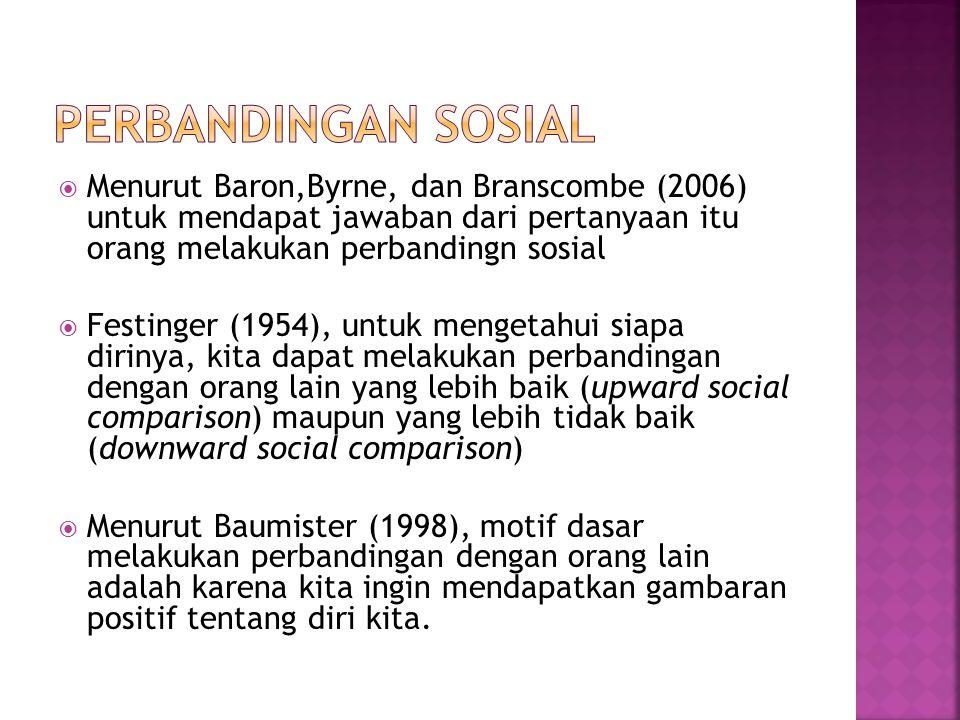Perbandingan sosial Menurut Baron,Byrne, dan Branscombe (2006) untuk mendapat jawaban dari pertanyaan itu orang melakukan perbandingn sosial.