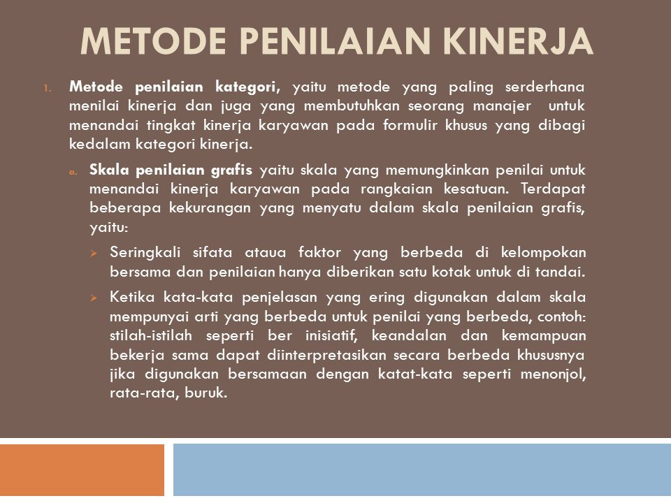 Metode penilaian kinerja