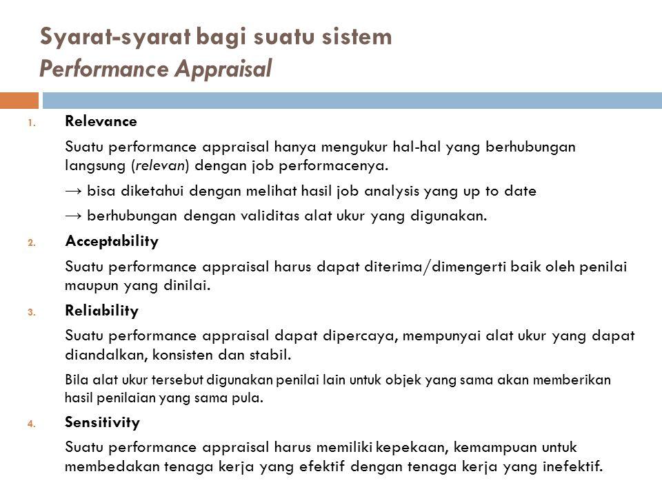 Syarat-syarat bagi suatu sistem Performance Appraisal