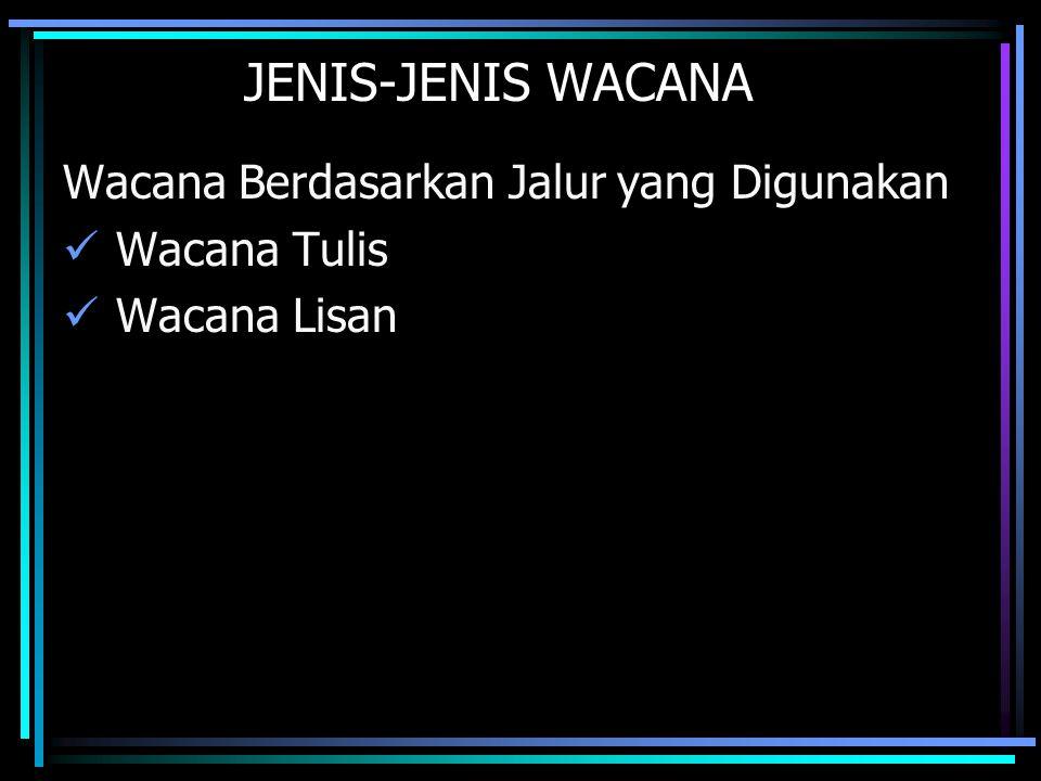 JENIS-JENIS WACANA Wacana Berdasarkan Jalur yang Digunakan