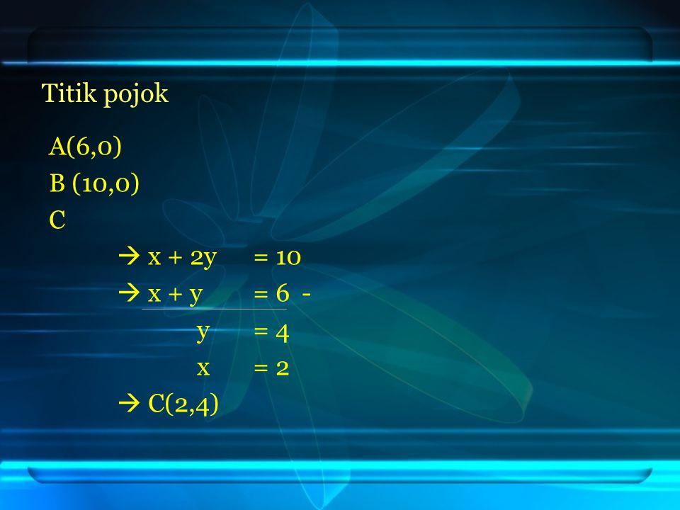 Titik pojok A(6,0) B (10,0) C  x + 2y = 10  x + y = 6 - y = 4 x = 2