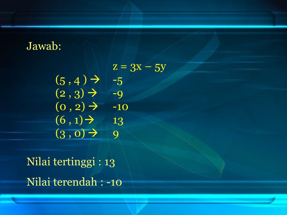 Jawab: z = 3x – 5y. (5 , 4 )  -5. (2 , 3)  -9. (0 , 2)  -10 (6 , 1)  13. (3 , 0)  9. Nilai tertinggi : 13.