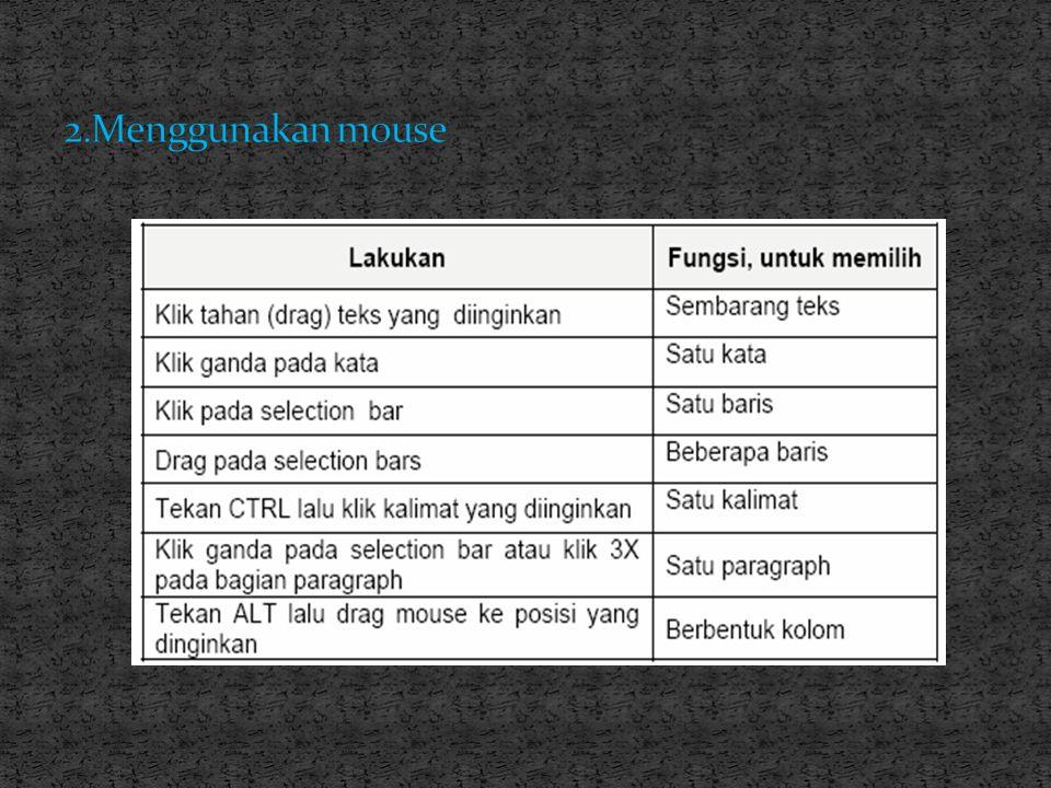2.Menggunakan mouse