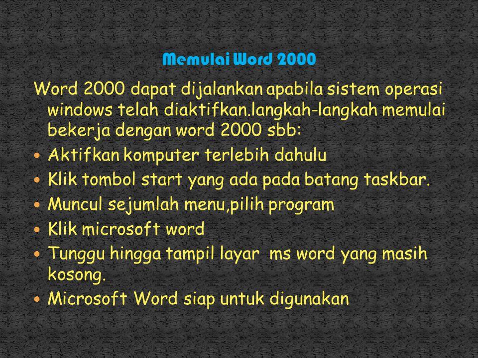Memulai Word 2000 Word 2000 dapat dijalankan apabila sistem operasi windows telah diaktifkan.langkah-langkah memulai bekerja dengan word 2000 sbb: