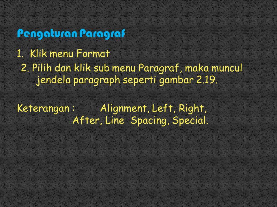 Pengaturan Paragraf 1. Klik menu Format