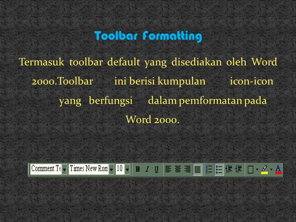 Toolbar Formatting