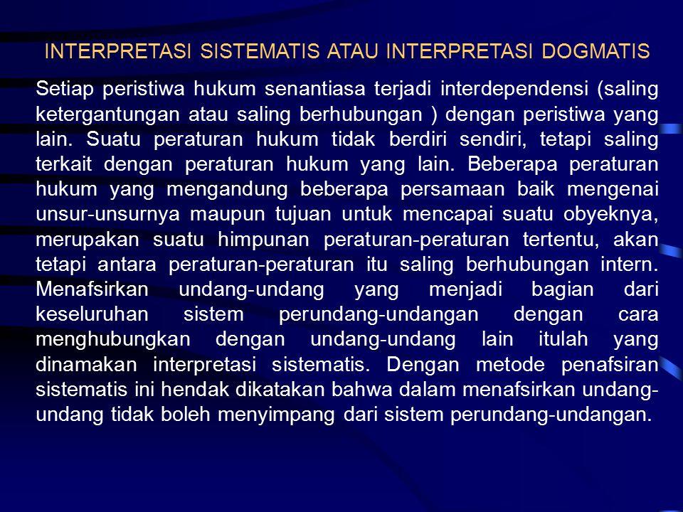 INTERPRETASI SISTEMATIS ATAU INTERPRETASI DOGMATIS