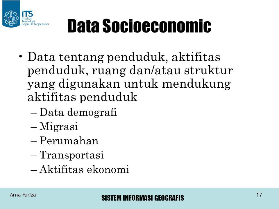 Data Socioeconomic Data tentang penduduk, aktifitas penduduk, ruang dan/atau struktur yang digunakan untuk mendukung aktifitas penduduk.