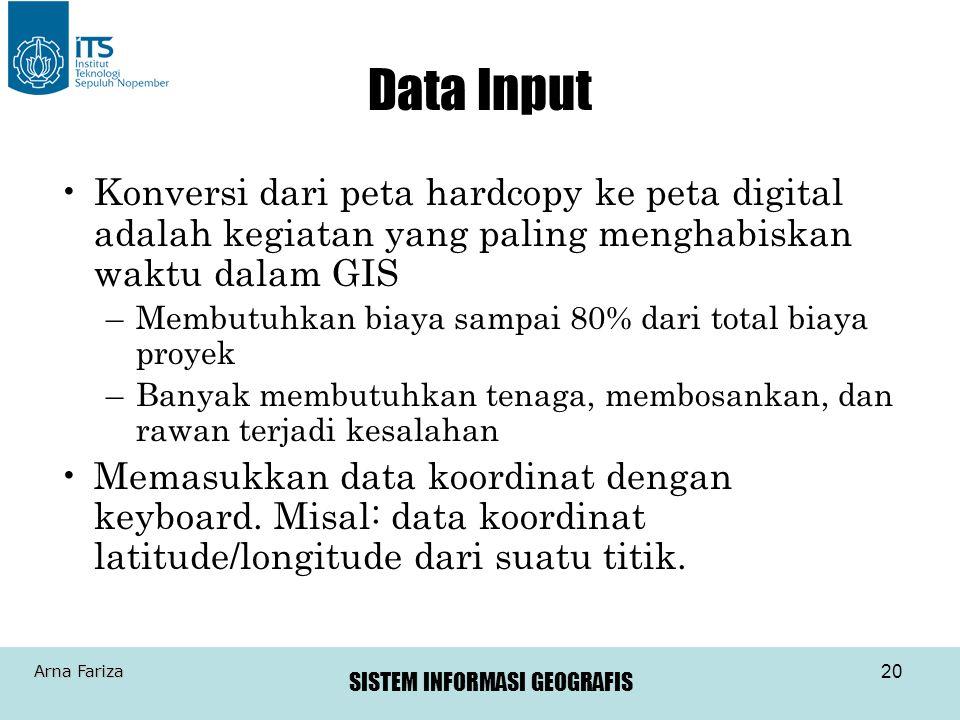 Data Input Konversi dari peta hardcopy ke peta digital adalah kegiatan yang paling menghabiskan waktu dalam GIS.