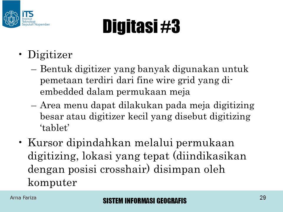 Digitasi #3 Digitizer. Bentuk digitizer yang banyak digunakan untuk pemetaan terdiri dari fine wire grid yang di-embedded dalam permukaan meja.