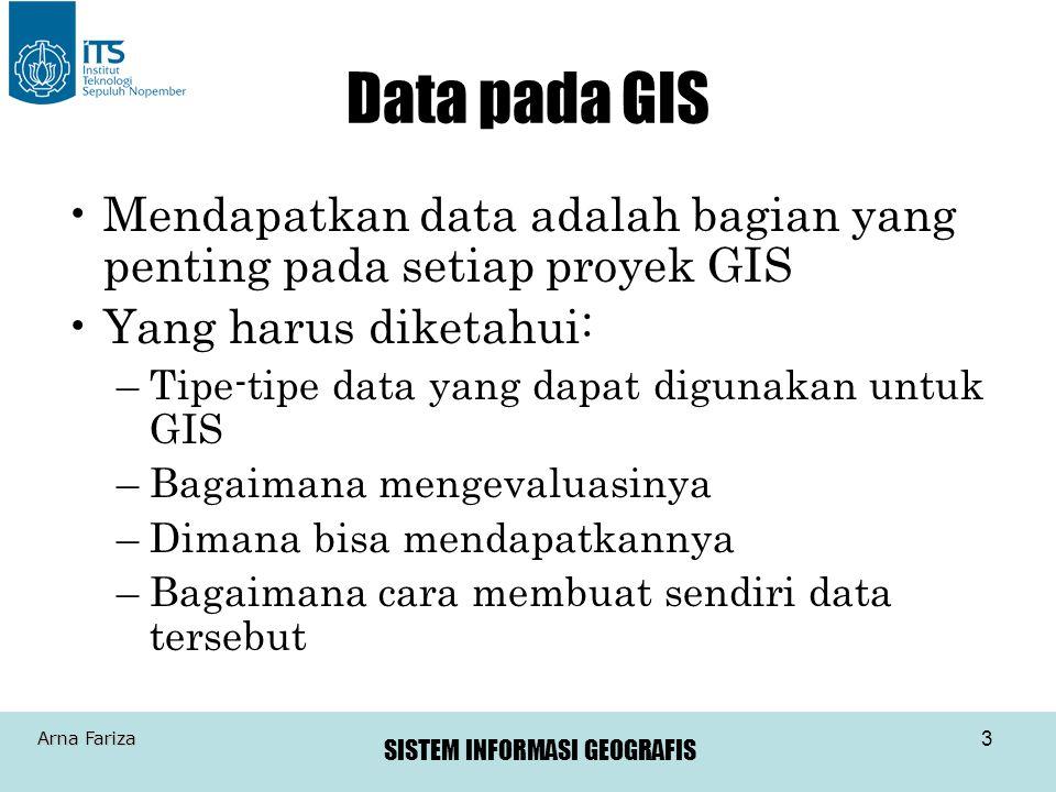 Data pada GIS Mendapatkan data adalah bagian yang penting pada setiap proyek GIS. Yang harus diketahui: