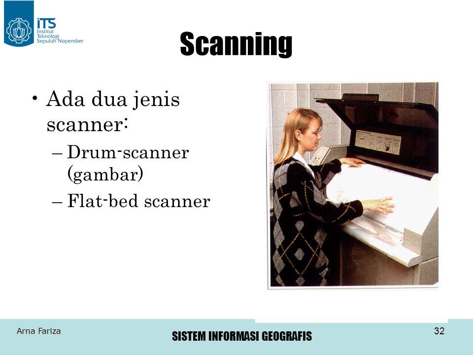 Scanning Ada dua jenis scanner: Drum-scanner (gambar) Flat-bed scanner